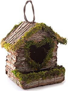 TEAYASON Wood Bird House for Outside,Preservative Wooden Birds Cage Feeder Nestting Box Garden Decoration Bird Houses for Garden