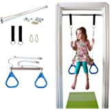 Indoor Swing by DreamGYM | Trapeze Bar and Gymnastic Rings Combo for Doorway Gym - BLUE