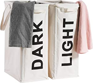 "Haundry 26"" Tall Slim Laundry Hamper Bag, 2Pcs/Set Lights and Darks Separator, Waterproof Large Thin Foldable Dirty Clothes Storage Basket"