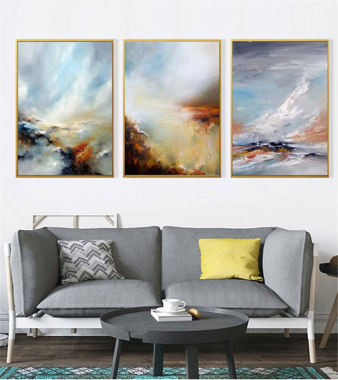 YIZHANGNordic Simple Abstract Triple Frame Pintura Decorativa Sala de Estar Sofá Pared Restaurante Dormitorio Mural (40  60cm  3)