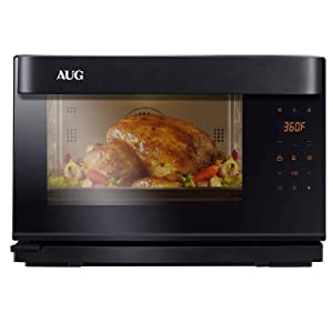 AUG Convection Steam Grill Oven, 0.9 Cu. Ft. Smart Household Countertop Combi Steamer with 8 Cooking Modes, Matte Black Stainless Steel