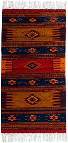 NOVICA Earthtone and Red Geometric Zapotec Wool Area Rug 2.5' X 5'