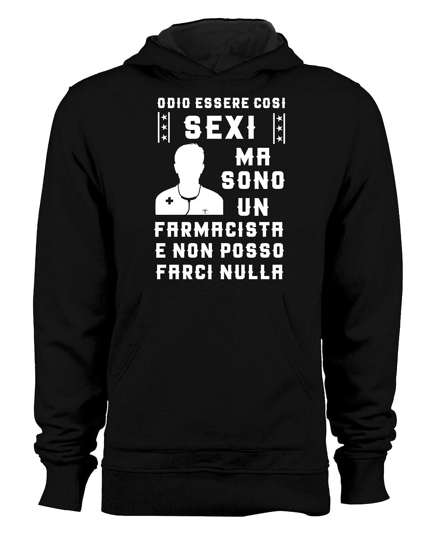 Felpa con Cappuccio odio Essere così Sexi ma Sono Un Farmacista e Non Posso farci Nulla - Tutte Le Taglie by tshirteria t-shirteria
