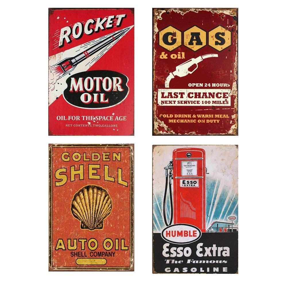 Easy Painter Motor Oil Plaque Texaco Sign Decor 8x12inchX4PCS Vintage Metal Tin Bar Pub Garage Decorative Poster