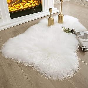 Ashler Soft Faux Sheepskin Fur Rug Chair Couch Cover White Area Rug Bedroom Floor Sofa Living Room 2 x 3 Feet