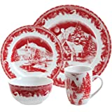 Gibson Elite Winter Cottage 16-Piece Porcelain Dinnerware Set, Red
