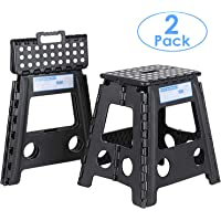 Prasacco 2 Pack Folding Step Stool for Adults, 15 Inch 39.2CM, Foldable Step Stool Holds Up to 330 lbs Each, Portable lightweightwith Handle, Anti-Skid, Great for Kitchen, Bathroom, Garden