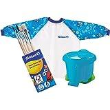 Pelikan Wasserbecher im Elefanten-Design mit Pinselhalter / Kombi-Set (Wasserbecher, Malschürze & Pinsel-Set, Blau)