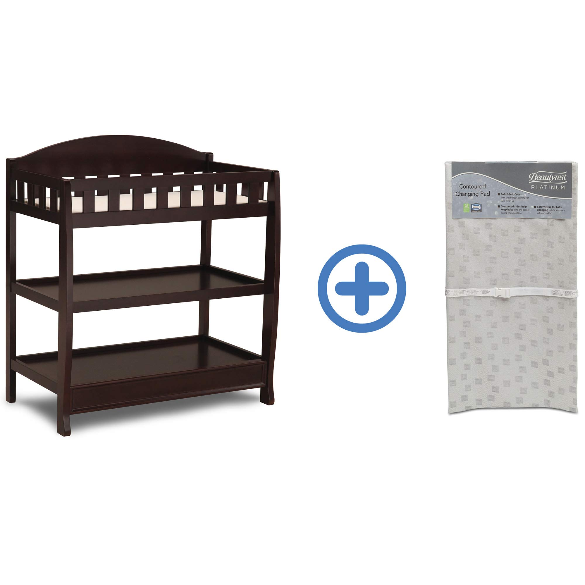 Delta Children Infant Changing Table with Pad, Dark Chocolate and Waterproof Baby and Infant Diaper Changing Pad, Beautyrest Platinum, White