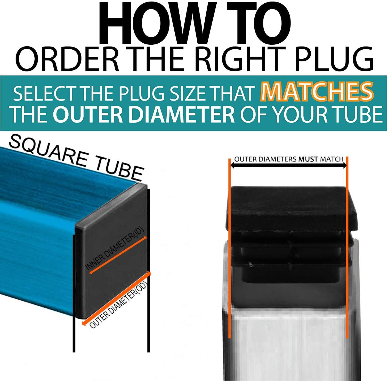 Square Plastic Plug 2 Inch Riccioofy 12Pcs Tubing Plug Cap Tubing End Cap/Chair Glide Insert Finishing Plug Black