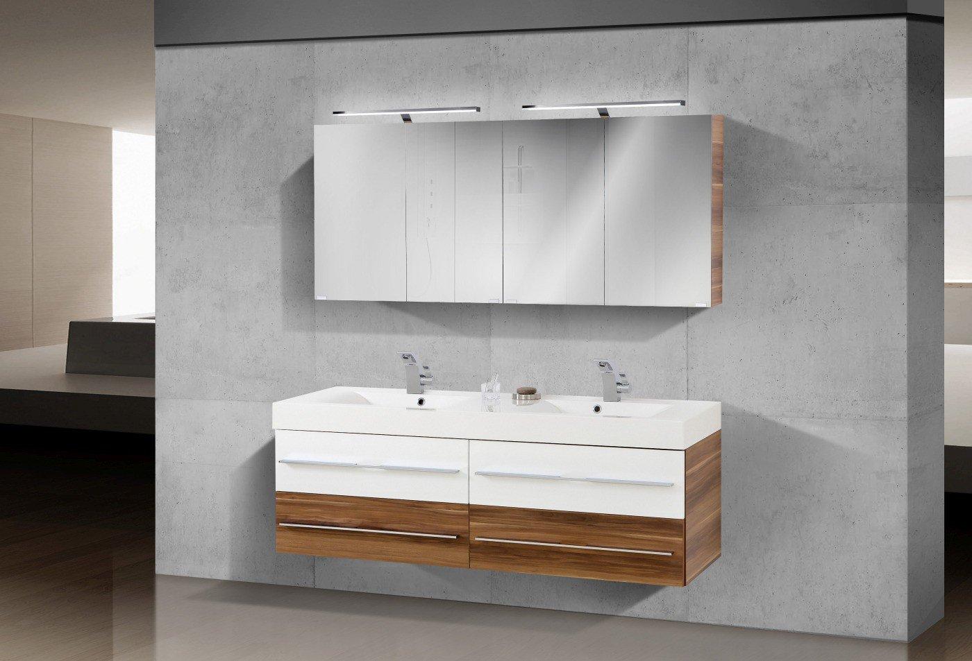 Badezimmermöbel Set mit Waschbecken und Doppelwaschtisch 160 cm