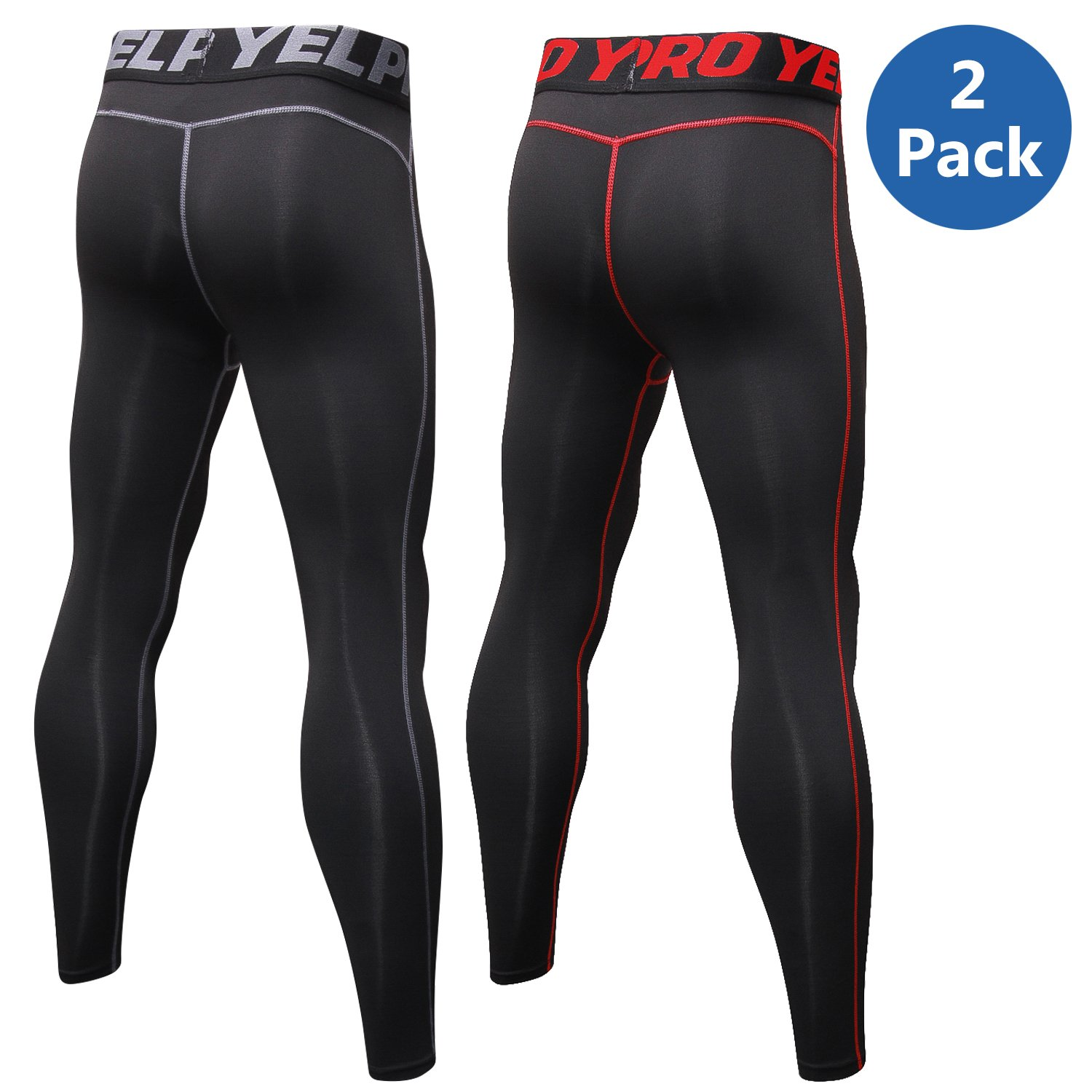 4fa515dd8d Amazon.com : VEEWOO Men's Compression Pants Baselayer Cool Dry Sports Tights  Leggings for Running, Workout, Training, Gym, Cycling : Clothing