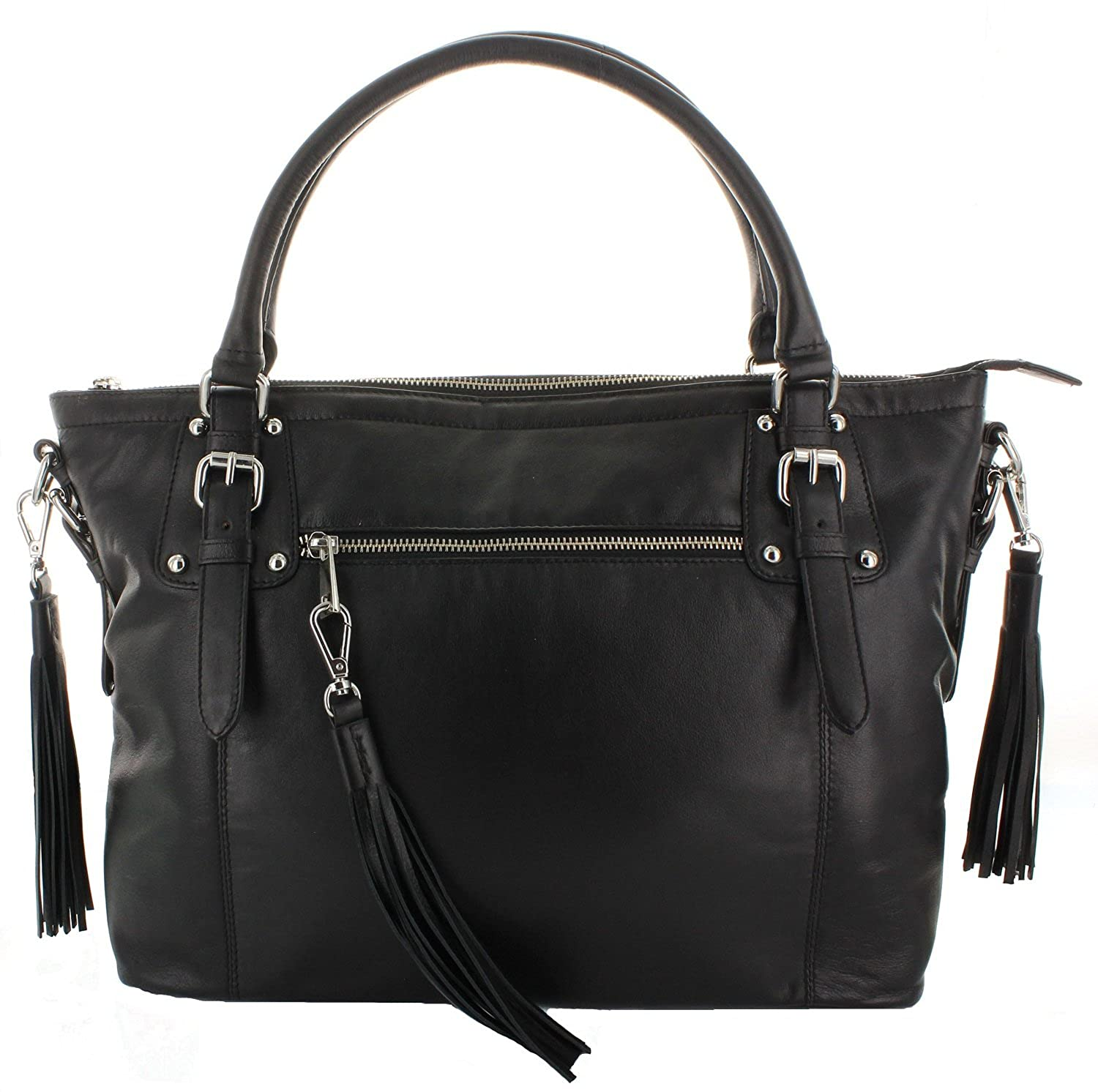Amazon.com  Viosi Women s Genuine Smooth Napa Leather Tote Shoulder Cross  Body Bag Purse (Black)  Shoes 39487ccec9e9a