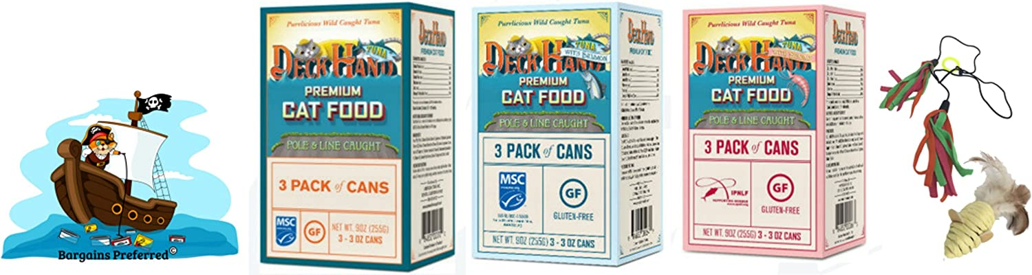 Deck Hand Premium Cat Food. Uniquely Pole & Line Caught Wet Cat Food. Variety 9 Pack Canned Cat Food with 3 Tantalizing Flavors. Pure Tuna, Salmon, and Shrimp with No Fillers or Artificial Additives.