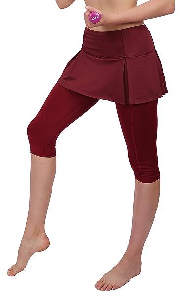 Women Skirt Leggings Sport Capris Pants Running Tights with Pockets Athletic Capri Red 4