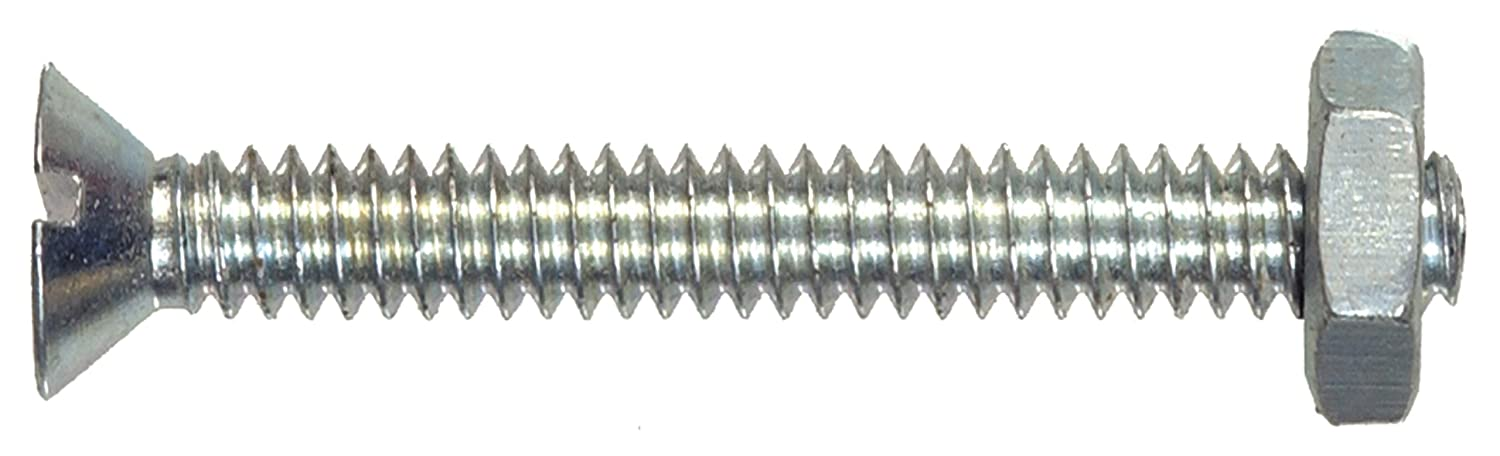 The Hillman Group 7815 Flat Head Slotted Machine Screw with Nut 10-32X1 1//4 8-Pack