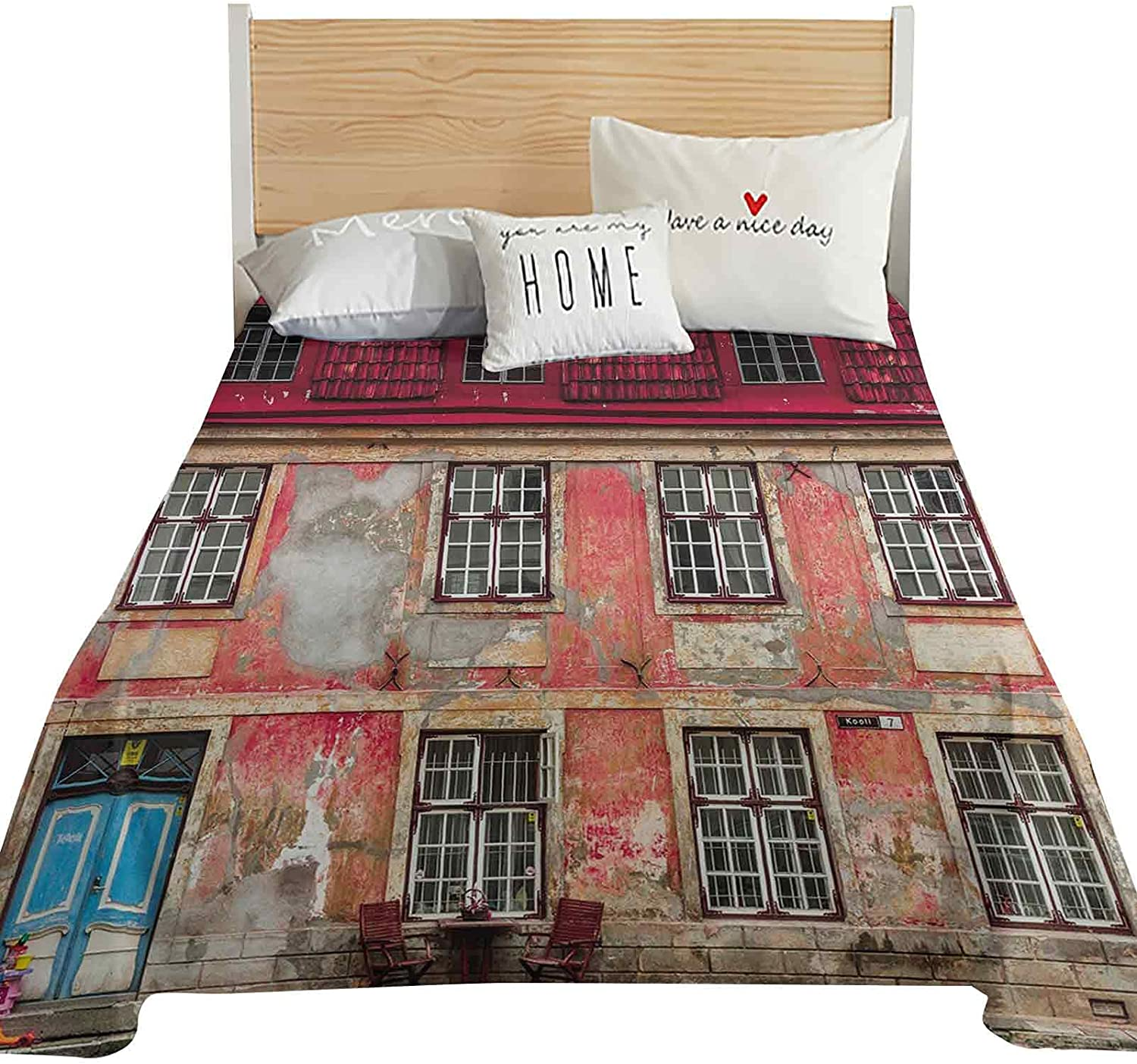 Hiiiman Urban Full Size Flat Sheet Only, Old Aged Building in Ancient City Tallinn Estonia Antique Structure Windows Decorative Ultra Soft and Comfortable Microfiber Top Sheet, Ruby Pink Sky Blue