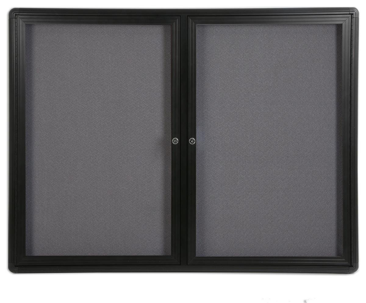 Displays2go 4 x 3 Feet Enclosed Bulletin Board with 2 Swing-open Locking Doors, 48 x 36 Inches Gray Fabric Notice Board, Aluminum/Black Frame (FBSW43BKLG)