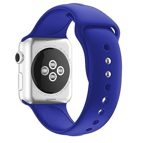 MYQyiyi Correa de Silicona de Reloj Inteligente para Apple Watch Series 3 38MM (Azul Oscuro