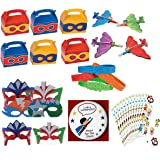 Superhero Birthday Party Favors Supply Pack Toy Assortment (12 Treat Boxes, 12 Foam Mask, 12 Airplane Gliders, 12 Bracelets, Super hero Stickers & Bonus Button)