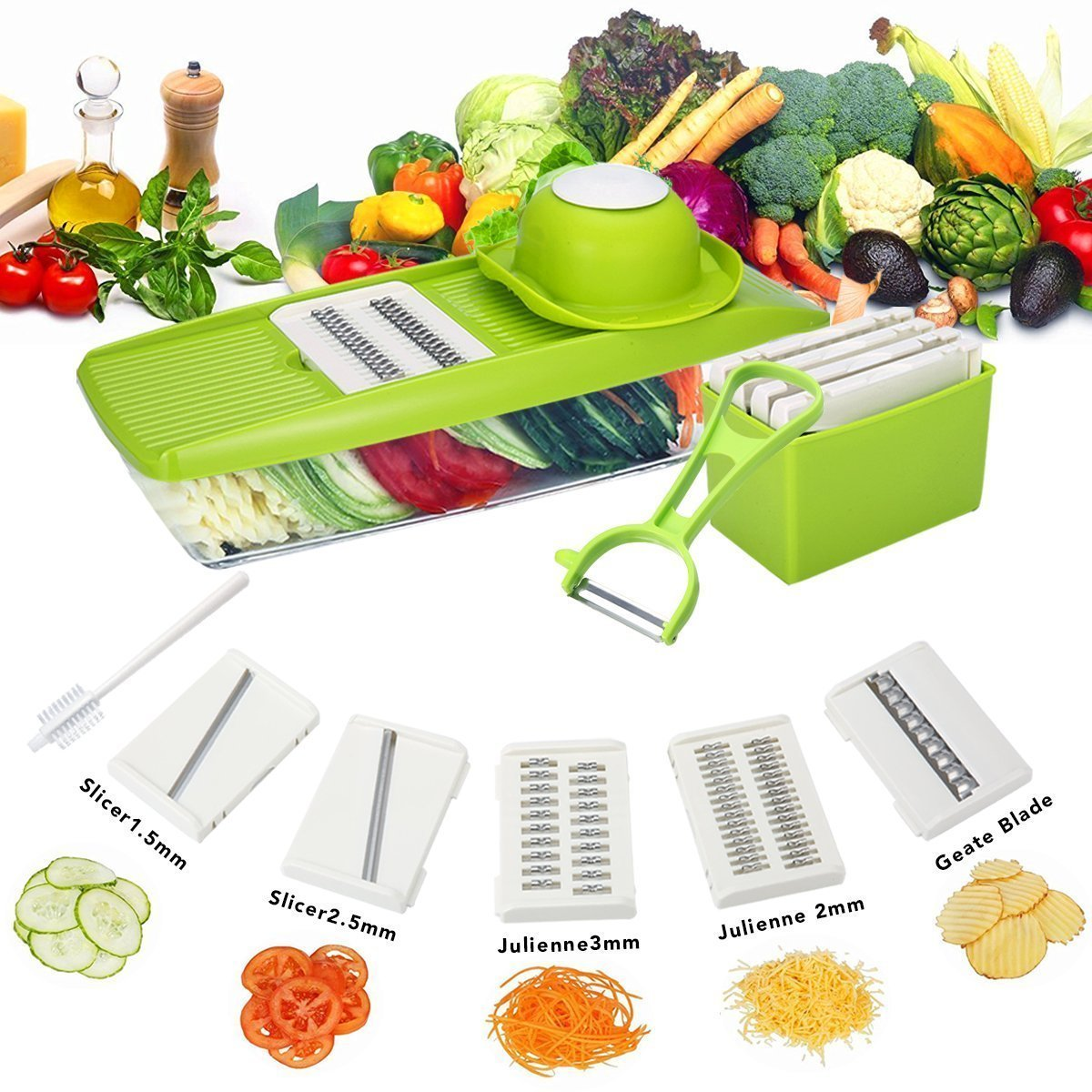 Mandoline Slicer 5 in 1 Vegetable Slicer Grater with 5 Interchangeable Stainless Steel Blades-One Food Container +One Vegetable Peeler+One Cleaning Brush hongchan