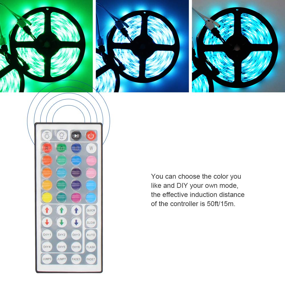 RGB 5050 Led Strip Lights, LYKK 12V5A 32.8Ft/10M 300leds Waterproof IP65 LED Flexible Color Changing Strip Light Kit with 44key RF Remote Controller for TV Background Wall Celebration Decoration