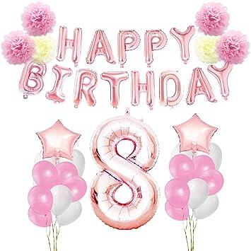 KUNGYO 8 años Oro Rosa Decoraciones de Fiesta de Cumpleaños - Happy Birthday Bandera de Globos, Globos de Aluminio Número y Estrella, Cintas ...