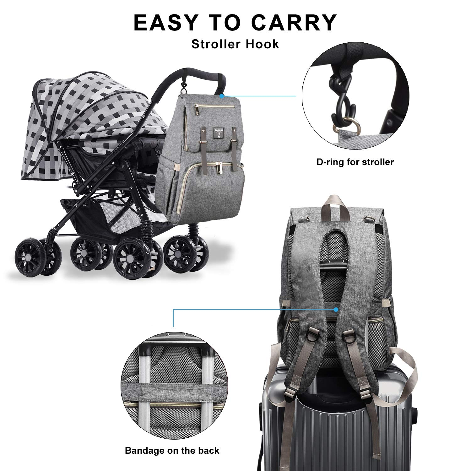 Diaper Bag Backpack for Baby Care A-Grey Black1 Multi-Functional Waterproof Travel Backpack Nappy Tote Bags Large Capacity Creative Fashion Package Best Gift for Mom/&Dad