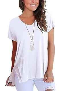 3715f85f189a Aokosor Women's Short Sleeve High Low Loose T Shirt Basic Tee Tops ...