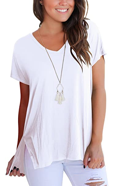 82f9fb9e FAVALIVE Womens Short Sleeve T Shirt V Neck Loose High Low Tee ...