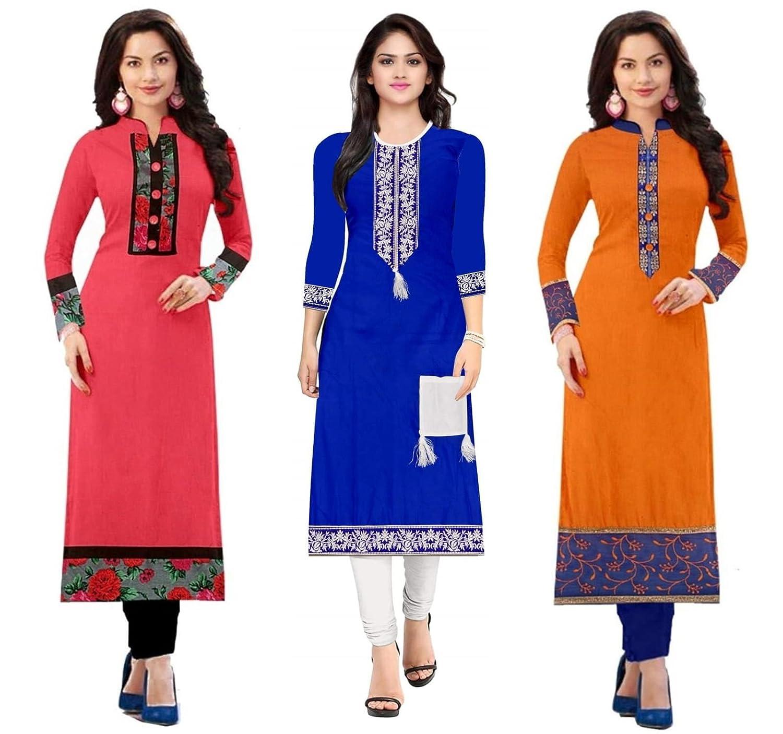 75bb273e1c Platinum Women s Dress Material(PLT 020304 Multi-Coloured Free Size)   Amazon.in  Clothing   Accessories