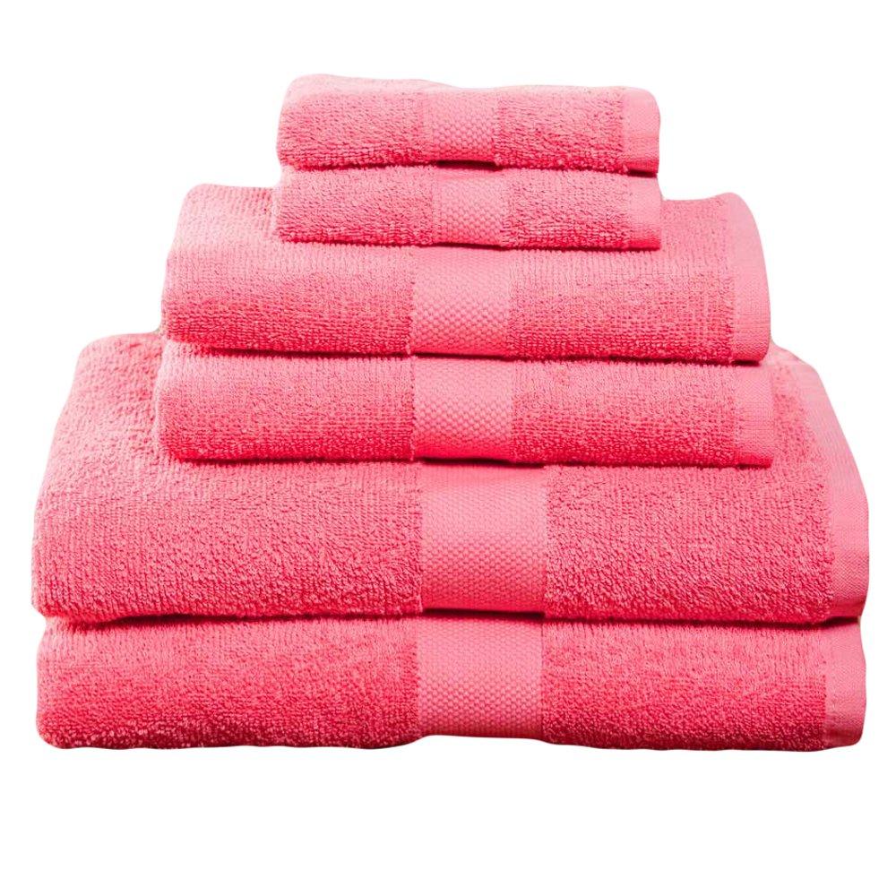 Campus Linens 6 Piece Deep Pink Deluxe Towel Set College Dorm Bath Set