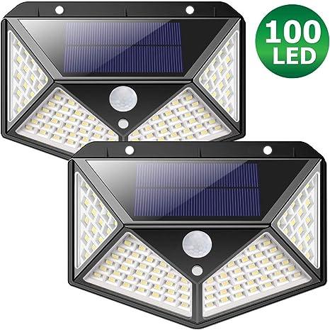 Luces led solares para exteriores con BATERIA MEJORADA 2200mAh ZIMAX 100 LED Luz solar exterior jardin Sensor de Movimiento Lámpara Impermeable Iluminación Jardín y 3 Modos Inteligentes (2-Paquetes): Amazon.es: Iluminación