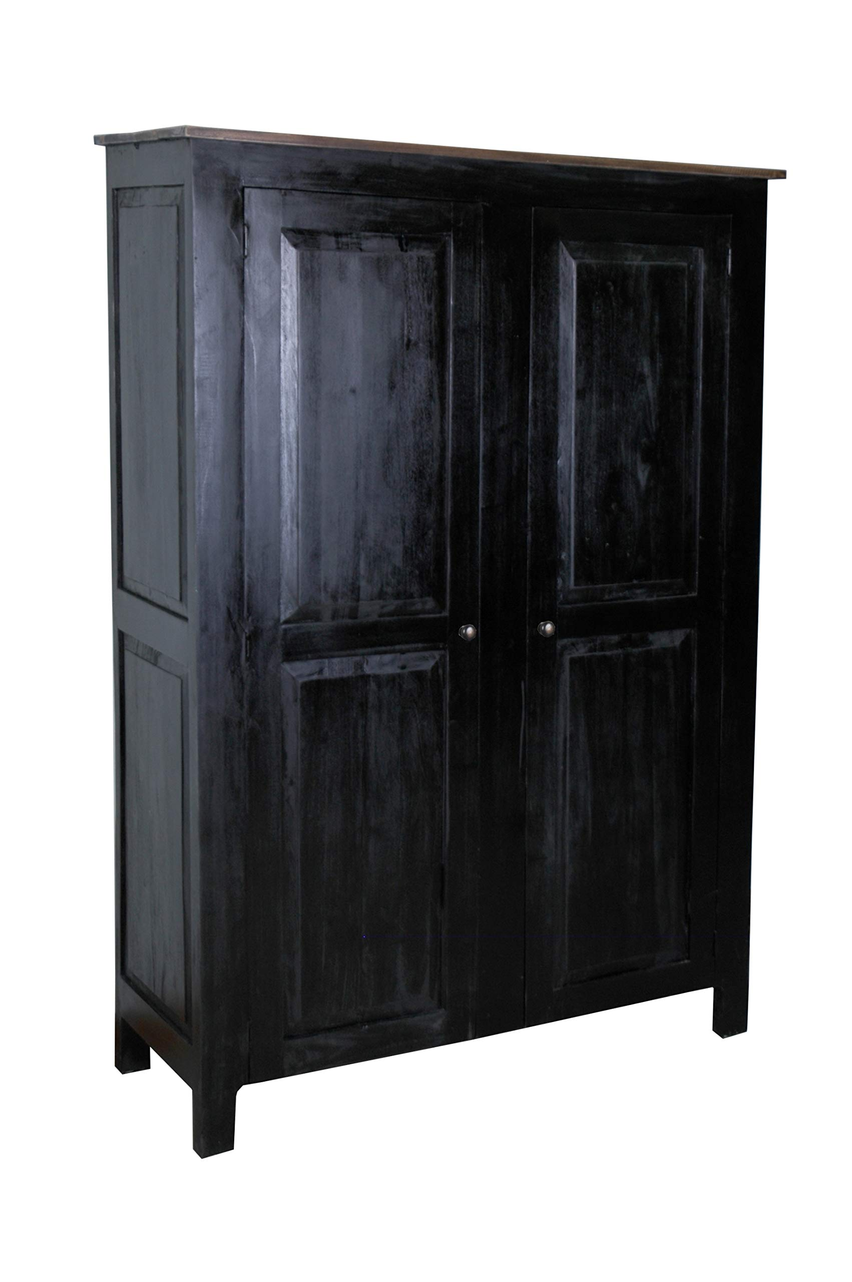 Sunset Trading Shabby Chic Cottage Storage Cabinet, Antique black with salvage top by Sunset Trading