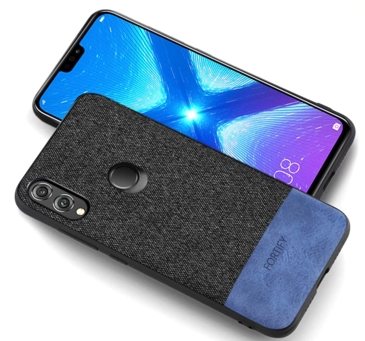 Fortify Soft Fabric Full Protective Back Cover Case for Honor 8X (Leather  Fabric Series, Black and Blue)