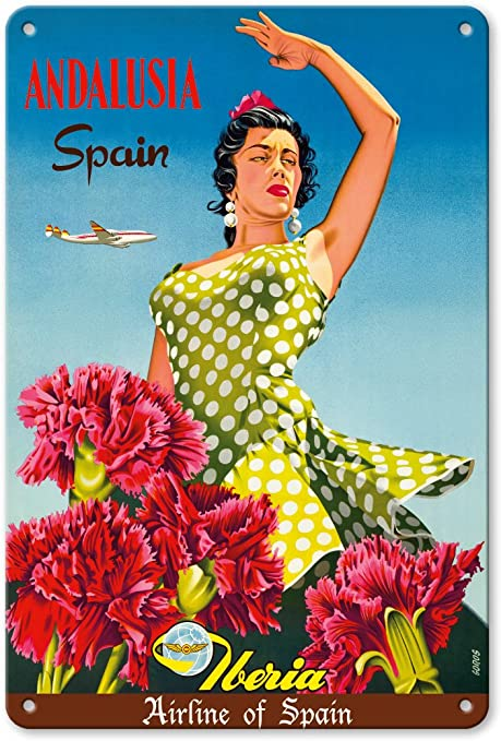 Póster de la Isla del Pacífico de Andalucía, España – Iberia Air Lines of Spain – Flamenco Dancer – Vintage Airline Travel Póster de Goros c.1958 – Fine Art Print: Amazon.es: Hogar
