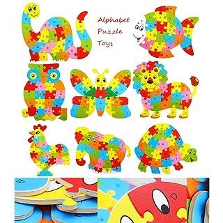 Bcfuda Giochi Giocattolo Bambino Bambini di Legno Legna Animale Puzzle Numeri Alfabeto Apprendimento Educativo Giocattoli