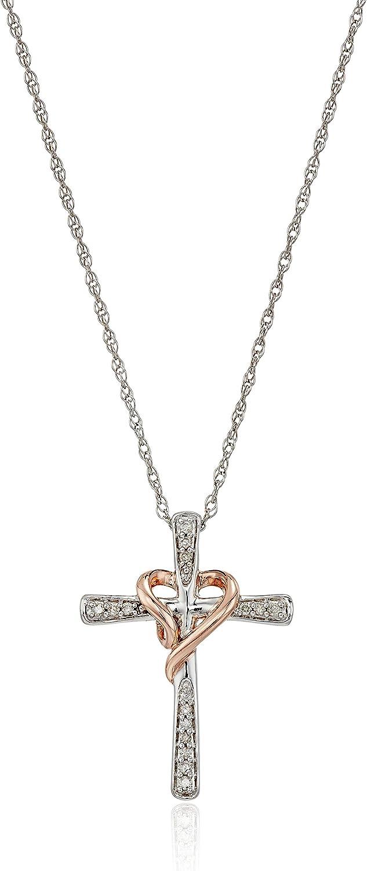 10kt Rose Gold Womens Round Diamond Roman Cross Pendant 1//3 Cttw