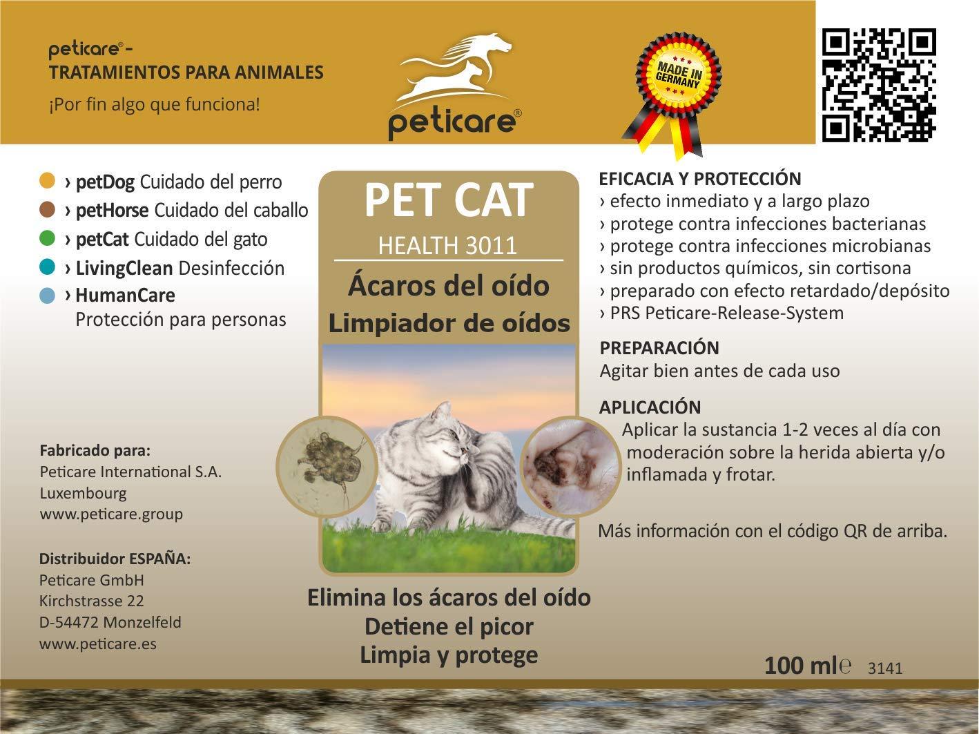 Peticare Gato Aceite de Cuidado Limpiador para Acaros del Oido y Anti-Parasitos - Gotas de Tratamiento, Limpia Eficazmente Orejas, Detiene Otitis ...
