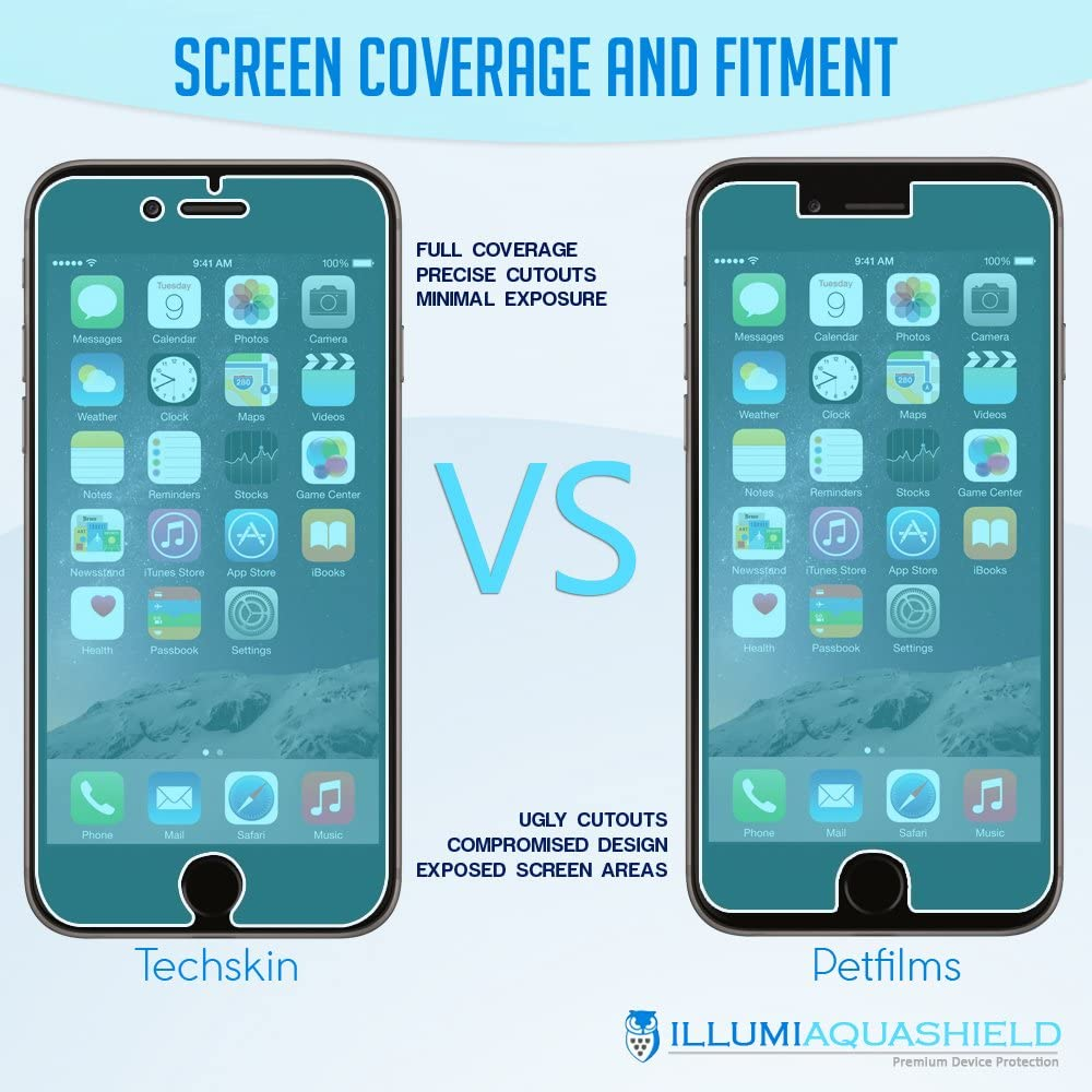 ILLUMI AquaShield Screen Protector Compatible with iPhone 6S Plus No-Bubble High Definition Clear Flexible TPU Film 2-Pack Apple iPhone 6 Plus 5.5 inch