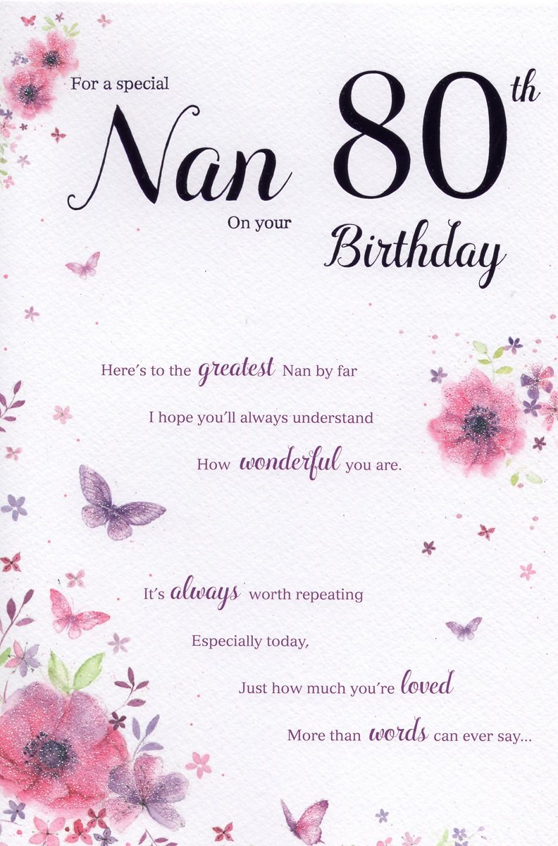 Nan 80 Birthday Card