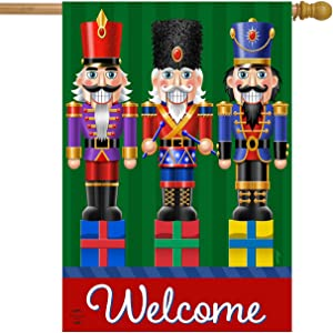 "Briarwood Lane Holiday Nutcrackers Welcome House Flag Christmas 28"" x 40"""