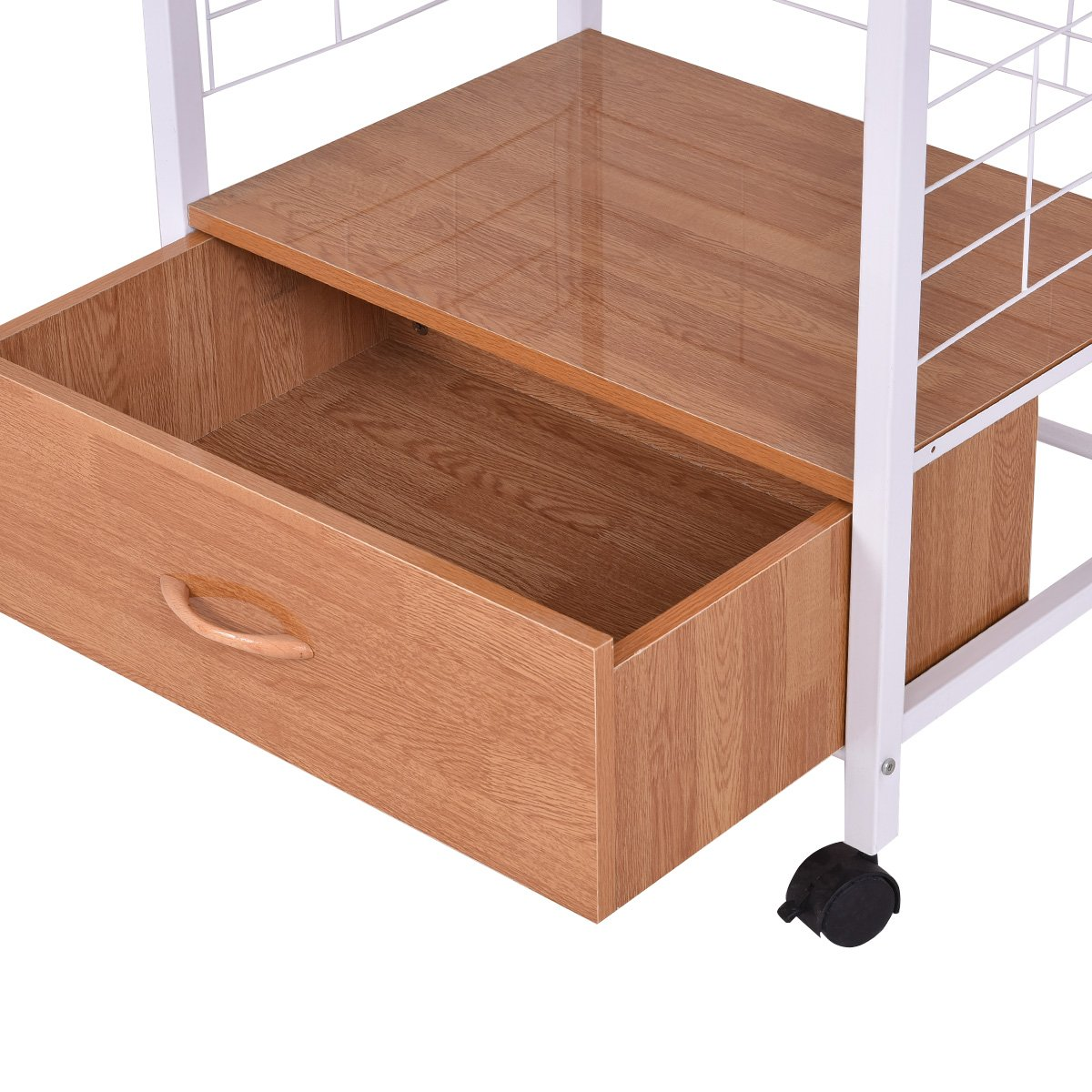 Giantex Microwave Cart Kitchen Baker's Rack Microwave Oven Stand Rolling Kitchen Storage Cart Utensils Organizer w/Electric Outlet and Drawer by Giantex (Image #9)