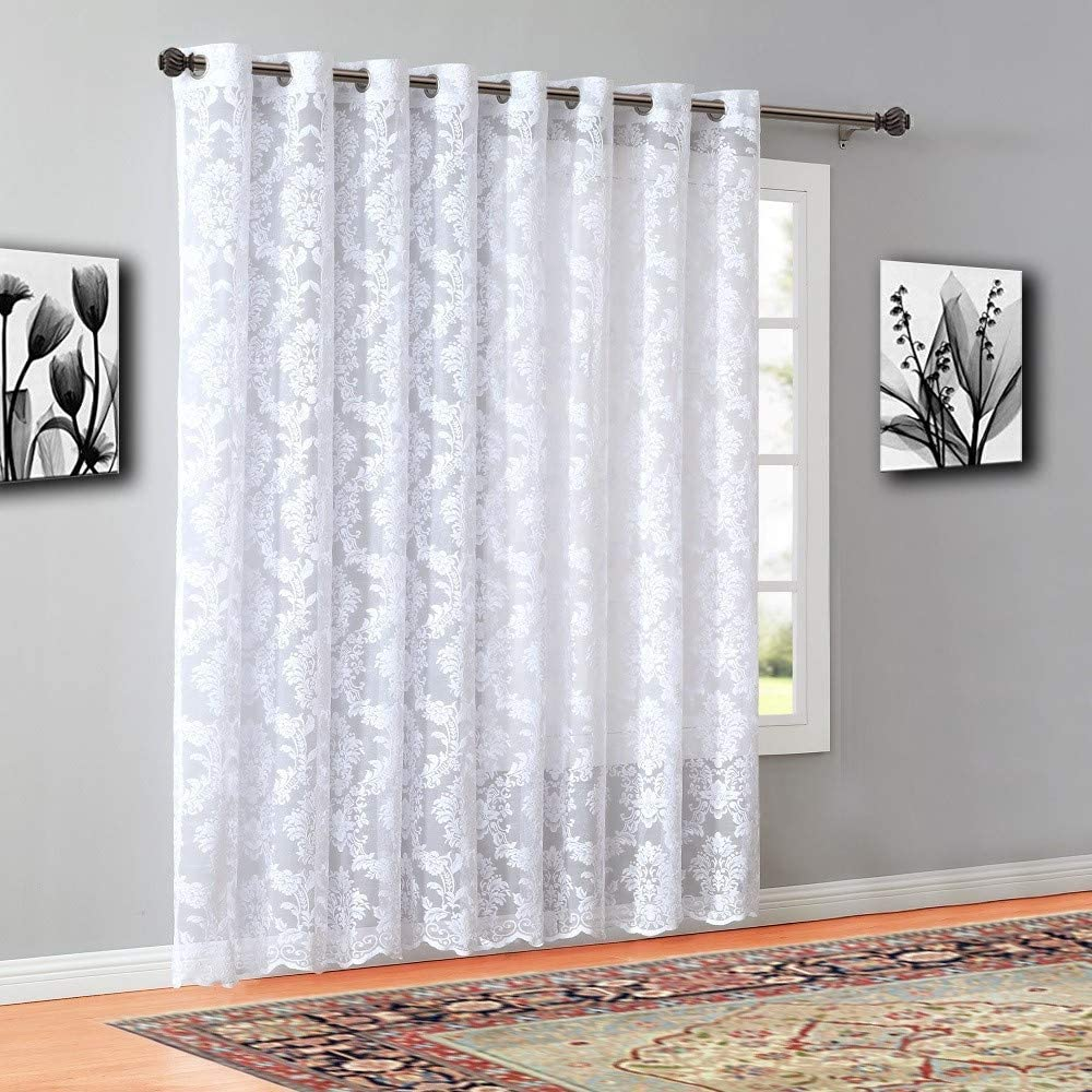 Warm Home Designs Wide Size 54 x 18 White Color Knitted Lace Valance Scarf with 8 Grommets LI White Valance Mix and Match with Patio Door and Regular Curtain Panels