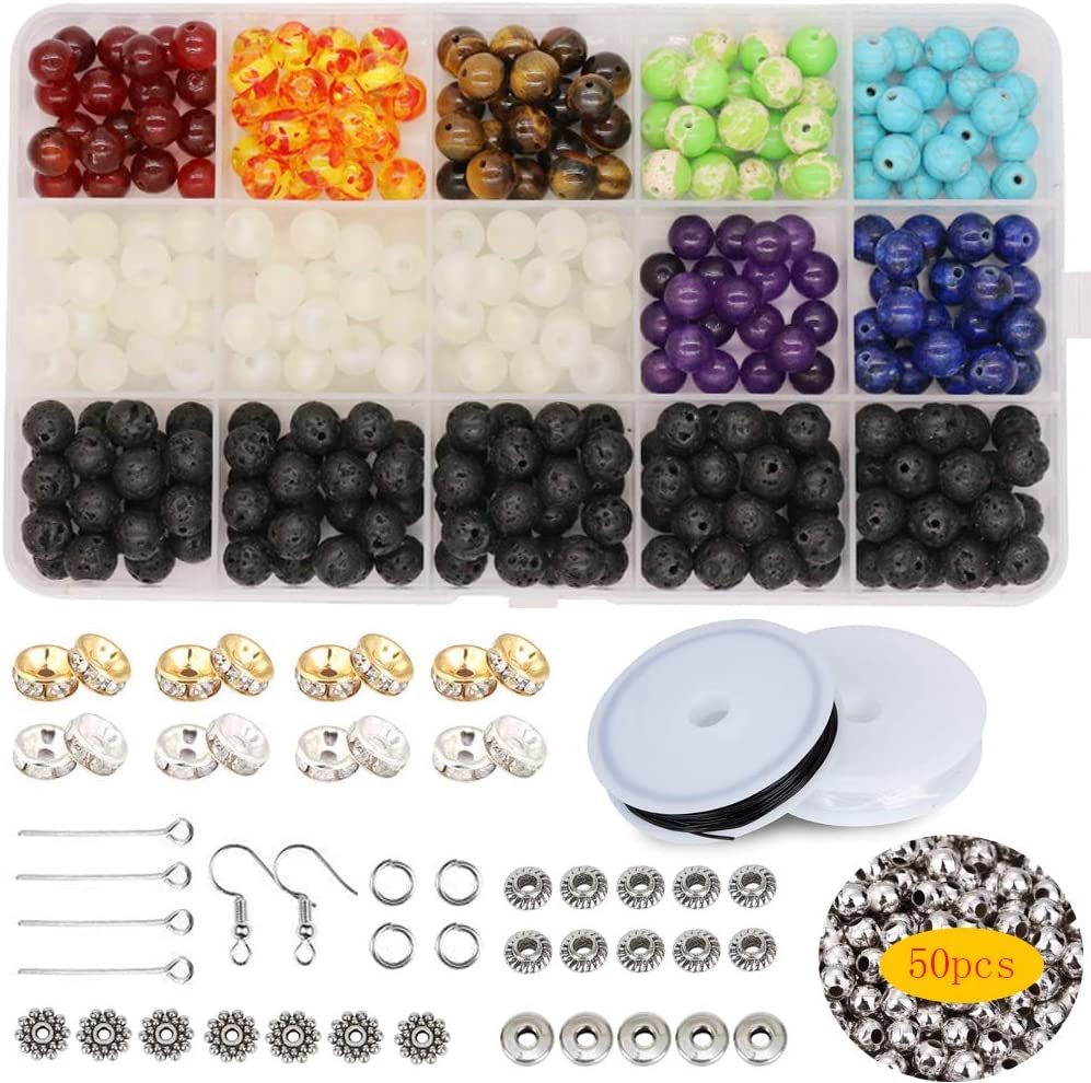 Civilipi 330 pcs 8mm DIY Lava Beads 210 pcs Assorted Kits Set for Chakra Beads Jewelry Making with Elastic Cord Storage Box