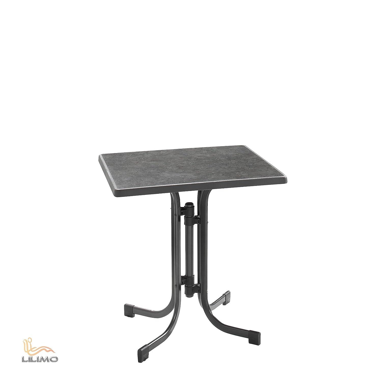 Gartentisch DINEA, 70 x 70 cm, klappbar, schwarz von LILIMO ®