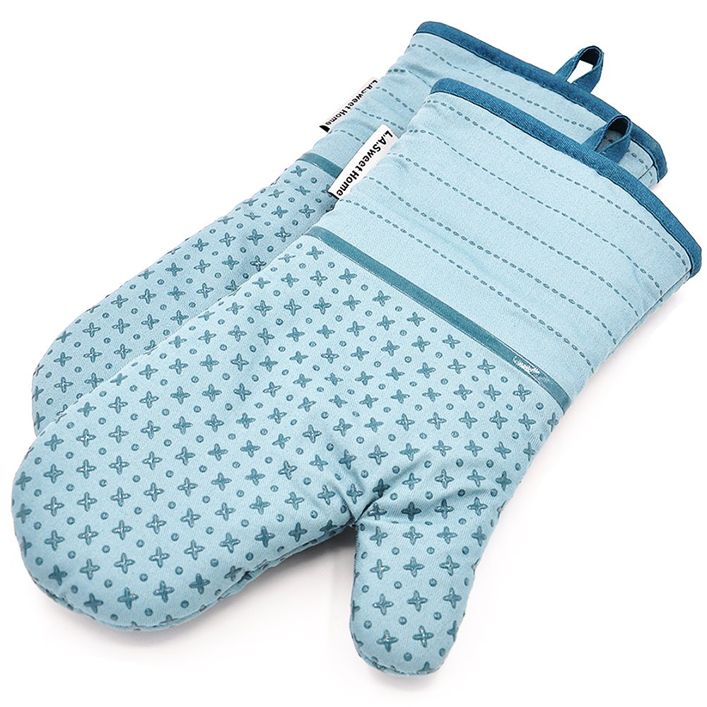 LA Sweet Home Silicone Oven Mitts Greek Key Pattern Heat Resistant Potholders Cooking Gloves Non-Slip Barbecue Gloves, Pot Holders,1 Pair (Aqua Blue)