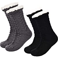 Boao 2 Pairs Women's Warm Slipper Socks Christmas Fuzzy Socks Fleece-lined Non Slip Slipper Socks