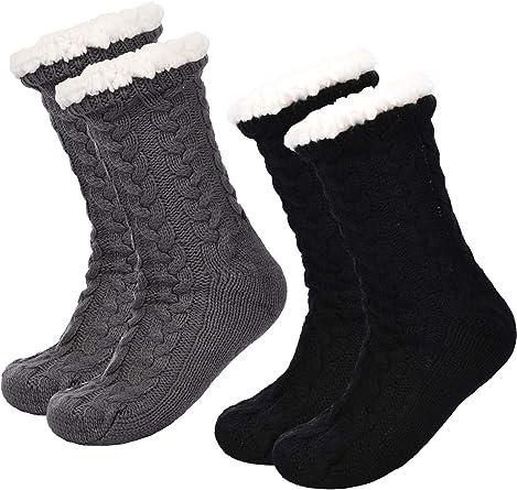 2 Pair Men Women Anti Slip Socks Thick Winter Wool Socks Warm Christmas Gift UK