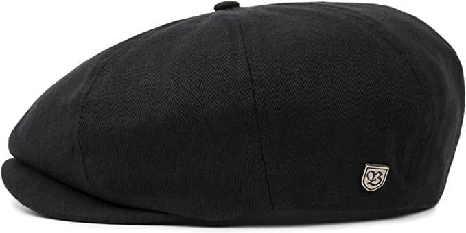 Brixton Hats Hooligan Flat Cap Black Herringbone
